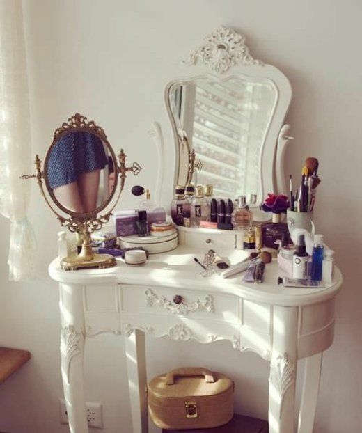 White Vanity. Style Motivation. For more vanity ideas and inspirations, visit our blog: http://www.kenisahome.com/blog/about-brands/updating-your-vanity/