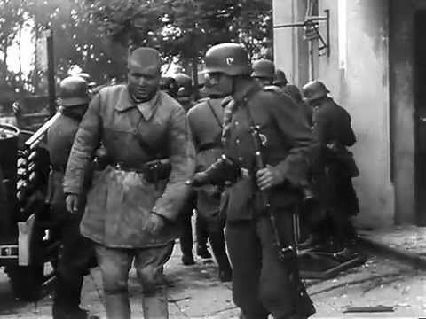 The Weekly German News of 25-Jun-1941, 3 days after the invasion of Russia. The opening part shows the empty streets of Berlin as the declaration of Hitler is read on the radio by Goebbels. Faces aren't happy. The rest of the reel is scenes from the front. It is all in German, but the images are self explanatory.