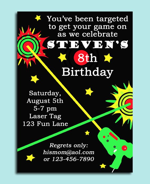 82 best boy birthday invitation ideas images on pinterest perfect invitation for any laser tag party this item is a personalized invitation image you will receive the invitation image via your email to print stopboris Gallery