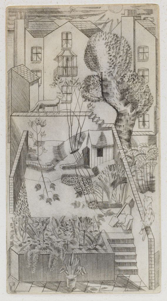 London backyard - cat on the fence | engraving, 1927 | Edward Bawden