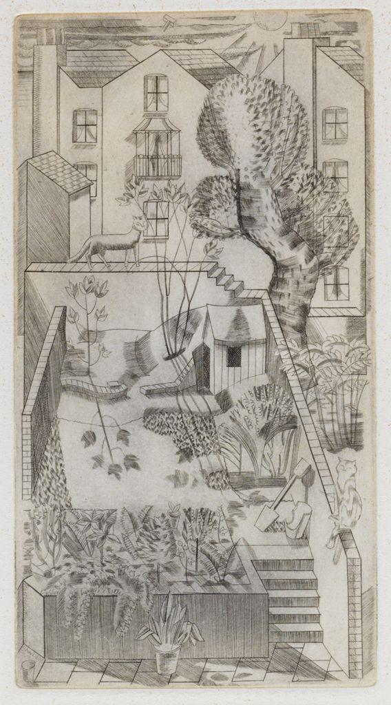 London backyard - cat on the fence   engraving, 1927   Edward Bawden