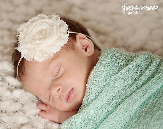 Baby Headband - Newborn Headband - Ivory Shabby Chic Chiffon Rosette Skinny Headband