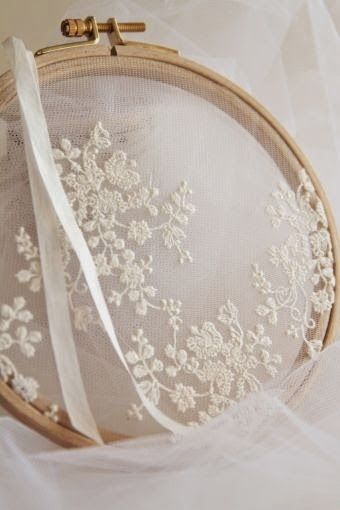 Wonderful idea for displaying beautiful lace, great for a piece of your wedding dress or veil.