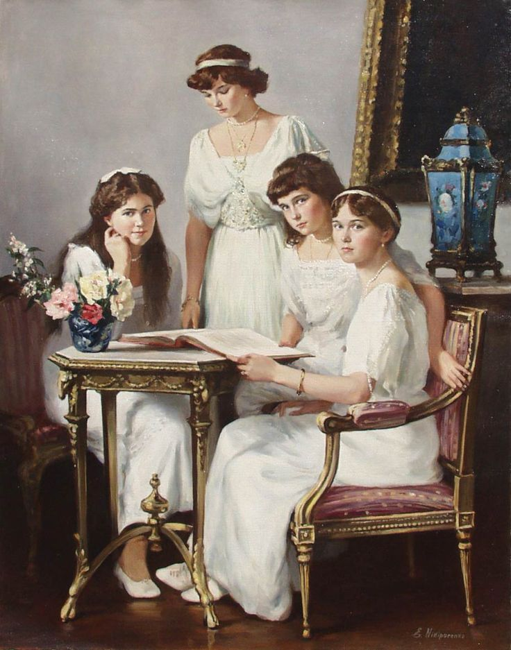 The Daughters. Ekaterina Nikiporenko. Painting captures the individual personalities of the last Tsar of Russia's daughters, Duchesses Marie, Tatiana, Anastasia and Olga.