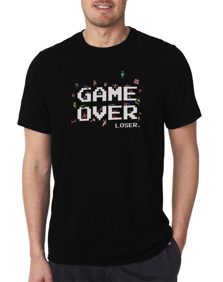 Game Over Video Game Loser 8bit Pixel Gamer Men's T Shirts, Size S-XXL Tee