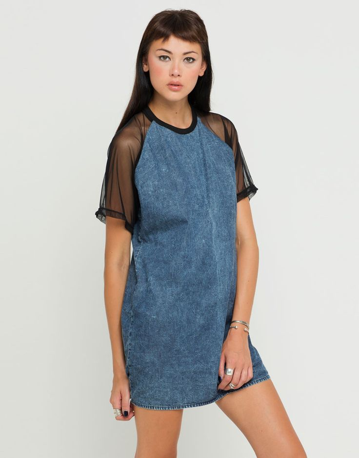 Buy Motel Sugar Sheer Sleeve Shift Dress in Acid Wash Denim at Motel Rocks