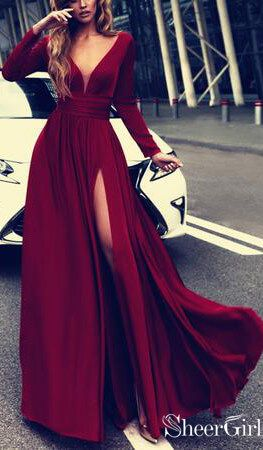 Long sleeve burgundy prom dress with side slit. Prom Dresses 2019,long Prom Dres…