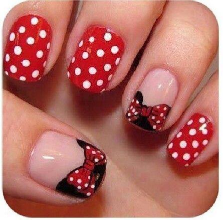 Nagellak kunst / stipjes / strik / nail art / dots / bow / minnie mouse