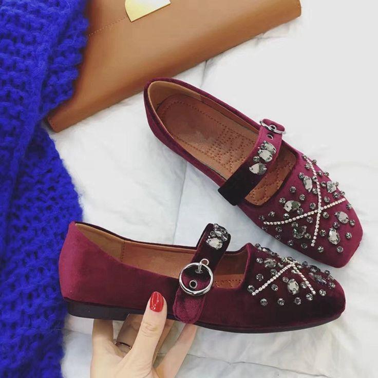 Korean Style Fashion Elegant Karree Schwarz Weinrot Samt Oberteil 2017 Frühjahr Neue Ankunft Frauen Singles Schuhe Mit Strass //Price: $US $45.91 & FREE Shipping //     #dazzup