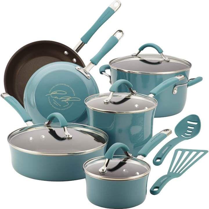 Rachael Ray Cucina 12 Piece Aluminum Non Stick Cookware Set Pots