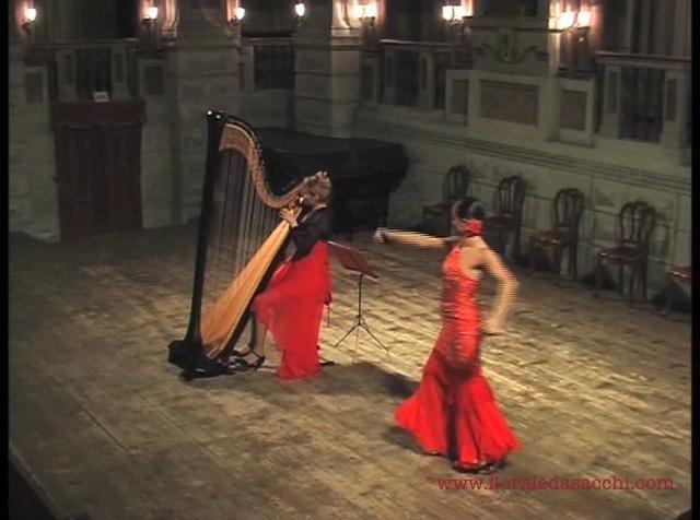 "Selections from the concert-show ""Harp Dances"".  Floraleda Sacchi and Monica Sanchez @ Teatro Accademico dei Bibiena (Mantova).    Music in the video: Salzedo (Tango, Seguidilla), Granados (Valses poeticos, Andaluza), Lecuona (Zambra Gitana), Granados (Valses poeticos), Albéniz (Asturias, Cuba), Rodrigo (Aranjuez, ma pensée), Salzedo (Chanson dans la nuit).    Pieces are recorded on DECCA CD 476 3856.  http://www.floraledasacchi.com/harpist-cd-harpdances.html"