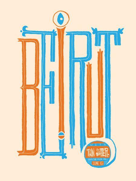 Beirut.: Beards, Poster Design, Poster Frame-Black, Graphicdesign, Typography Design, Gig Poster, Graphics Design, Typographic Poster, Beirut Poster