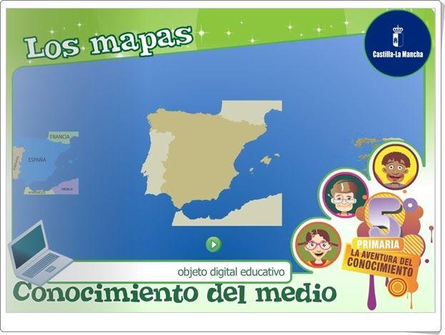 """""""Los mapas"""", de la Junta de Castilla y La Mancha, es una aplicación en la que se exponen de forma interactiva las características de mapas, planos, croquis y la escala. Finaliza con actividades de evaluación sobre el aprendizaje adquirido."""