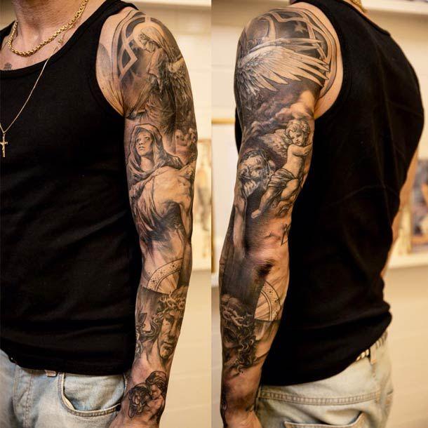 1000 Id&233es Sur Le Th&232me Angel Sleeve Tattoo Pinterest  Tatouage