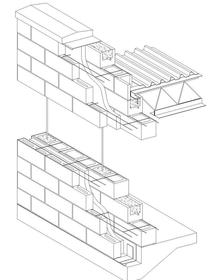 Cavity Wall Concrete Block Veneer Reinforced Concrete Block