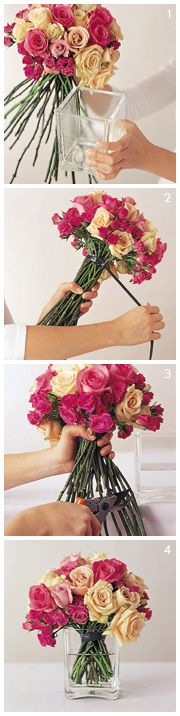 Not the right colours, and I can't afford 50 roses per centrepiece, but I like the idea! Floral Interludes: DIY ~ Floral Design