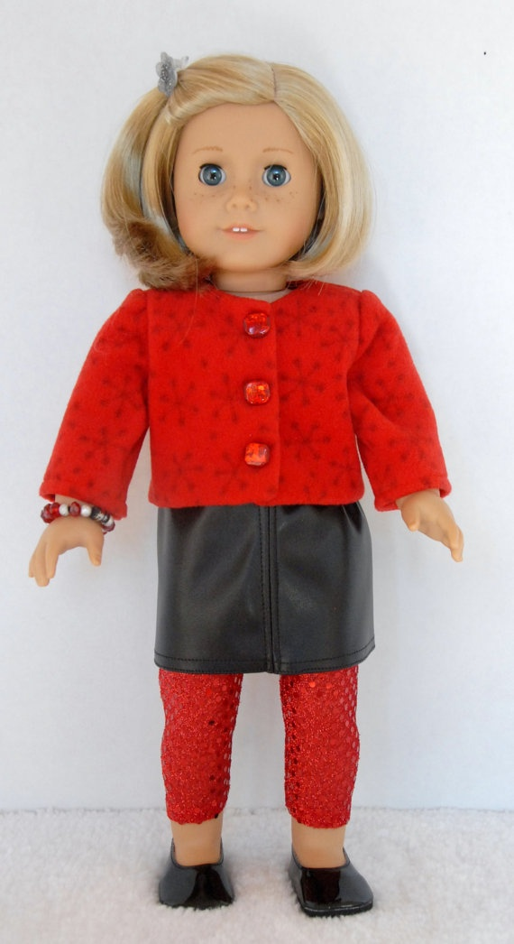 "American Girl 18 inch Doll Clothes Red Snowflake Fleece , Black ""Leather"" Mini Skirt, & Red Sparkle Leggings American Girl 18 inch Doll Clothes Red by TwirlyGirlDollDesign"