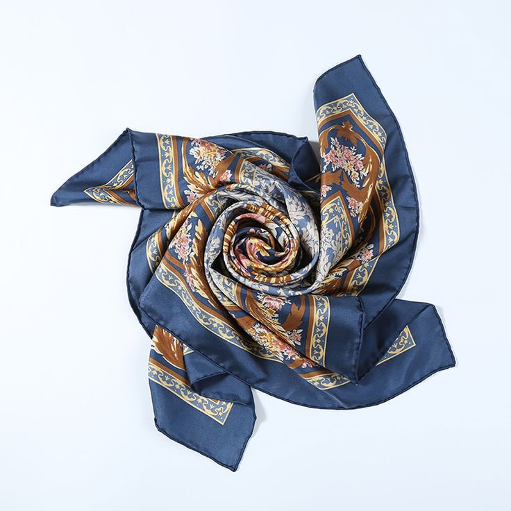 Large Square Silk Twill Scarf Navy Theme Floral Print XWC680