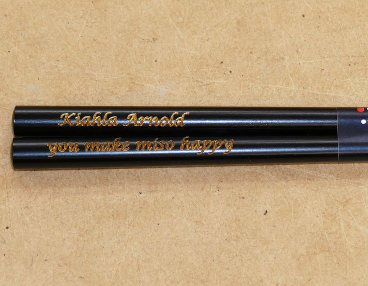 Engraved chopsticks example black enamel gold fill in engraving