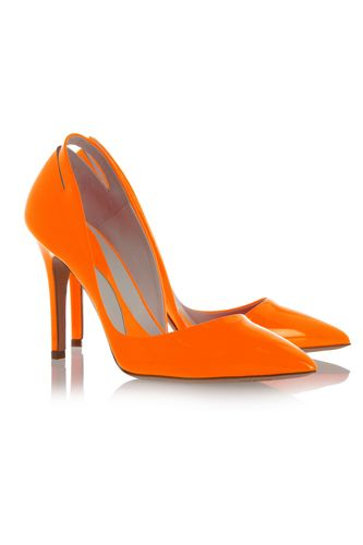 Orange love <3  McQ Alexander McQueen Cutout Pointed Patent Leather Pumps, $590, available at Net-A-Porter.