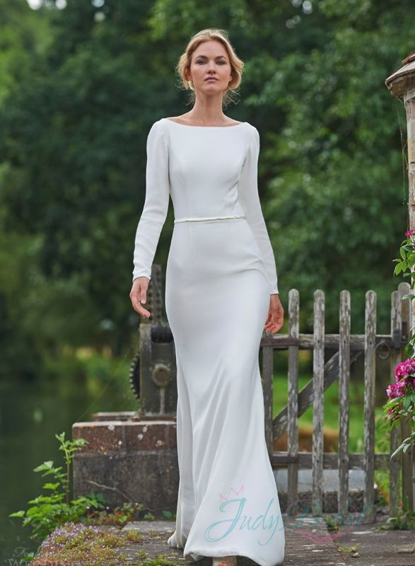 Sexy simple long sleeved backless sheath wedding dress for Backless sheath wedding dresses