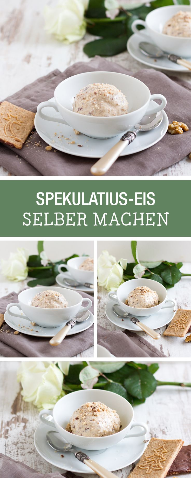 Eis mit Spekulatius selbermachen. Dafür brauchst Du nicht mal eine Eismaschine / how to make almond biscuit ice cream without an ice cream maker via DaWanda.com