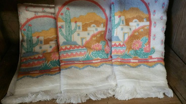 Vintage Towels, FREE SHIPPING, Southwestern Design, Set of three, Cactus Motif, SouthWest Design, New Tea Towels, Aztec Design, Hand Towel by TreasurehunterCoShop on Etsy