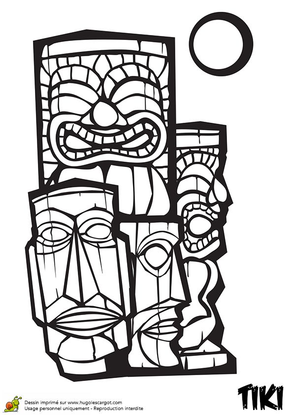 hawaiian totem pole coloring pages - photo#8