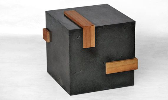Concrete cube side table w/ cherry wood by LAbCfurniture on Etsy, $2400.00