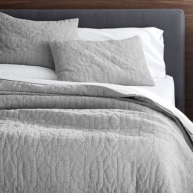 Charming Delano Grey Quilts And Pillow Shams | Crate And Barrel