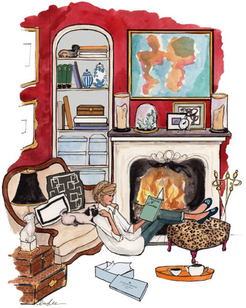 illustration: Insl Haynes, Be A Girls, Living Rooms Redo, Sketch Books, Pugs, Cozy Living Rooms, Reading Books, Dreams Life, Fashion Illustrations