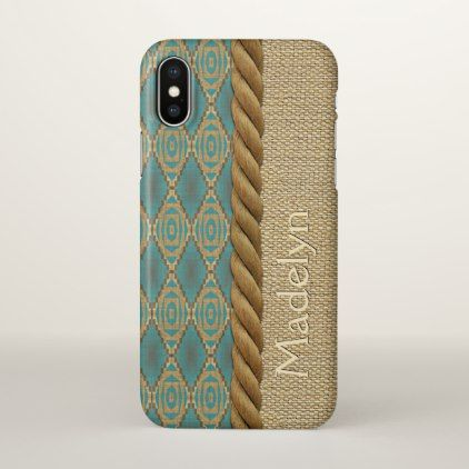 Custom Fun Ethnic Turquoise Brown Mosaic Pattern iPhone X Case - cool gift idea unique present special diy