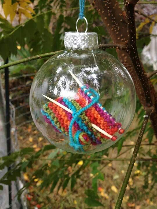 Knitting christmas ornament