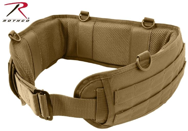 Coyote Brown Tactical Duty Battle Belt - Rothco Padded Mesh Non-Slip D-Ring Belt