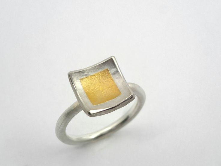 Hammered square ring made of gold and silver. A simple and beautiful ring with gold fused on silver. A curved ring. by TomisCraft on Etsy