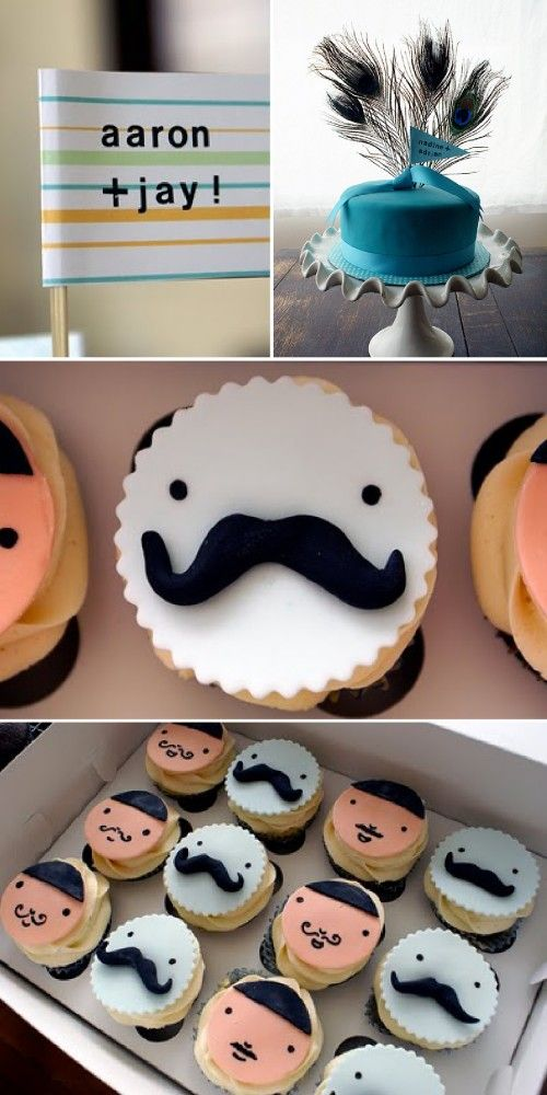 Fabulously fun cupcakes. The mustache men are my favorite. The girls are pretty too. #cupcake #whimsy