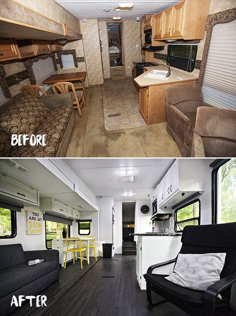 Before & After pictures of the RV renovation we did on our Laredo Fifth Wheeler. It looks like a brand new apartment on wheels. Check out the photos below..