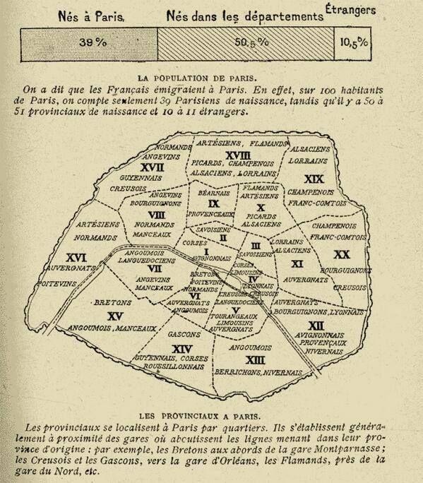 #Map of non-parisians living in Paris in 1920 #paris France