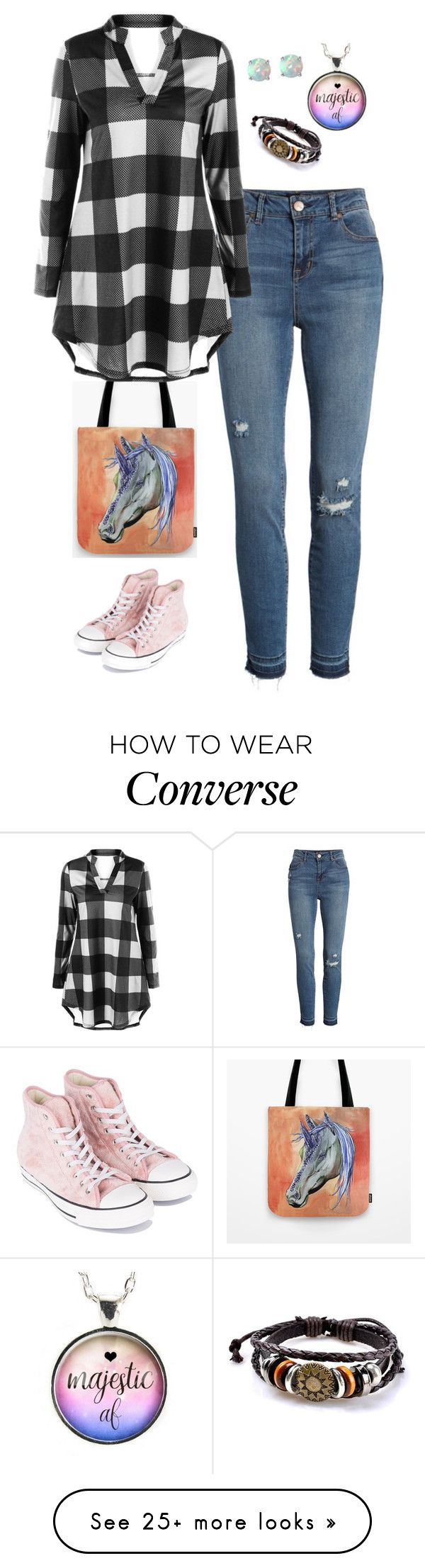 """Geen titel #884"" by miriam-witte on Polyvore featuring 1822 Denim, Converse and Glitzy Rocks"