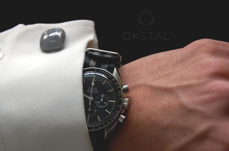 Omega Speedmaster Professional and OKSTAL shirt equipped with self holding and assymmetrized french style watchcuff