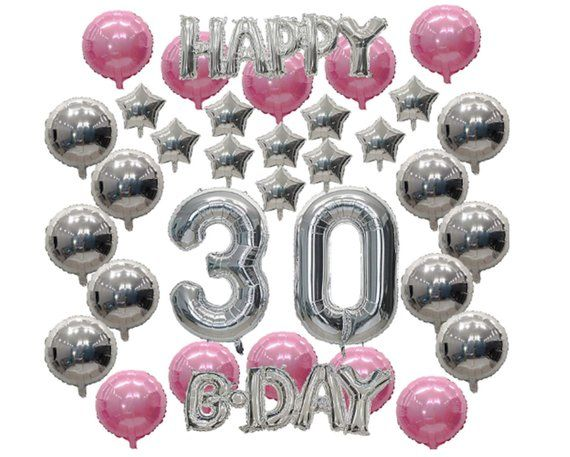 30th Birthday Party Decoration Silver 30th Birthday Balloons Pink