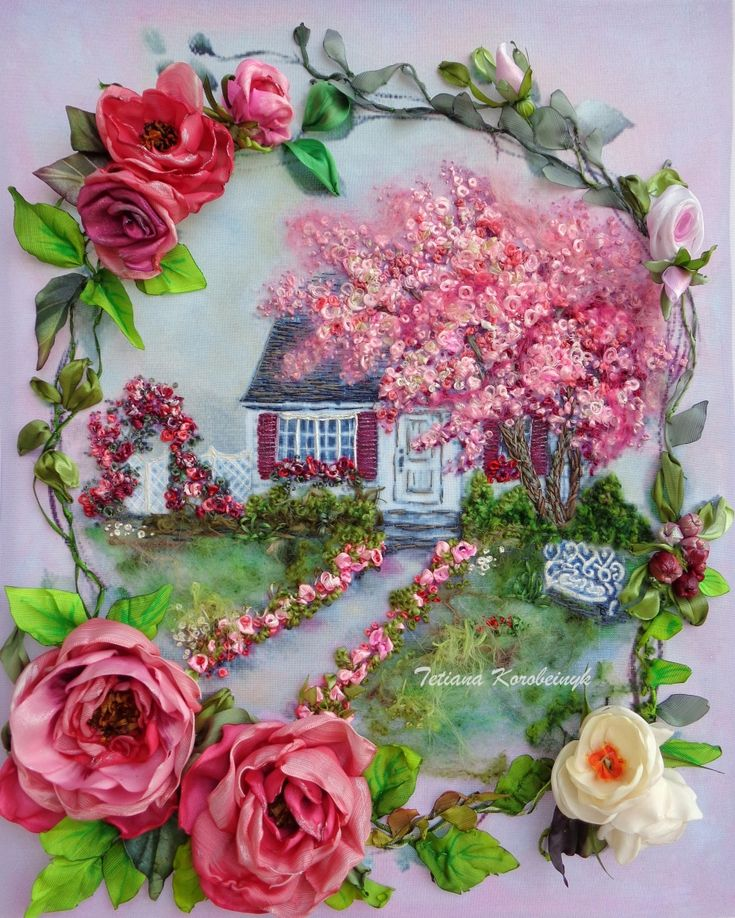 """Embroidered picture """"Unforgettable fable """", Silk ribbon"""