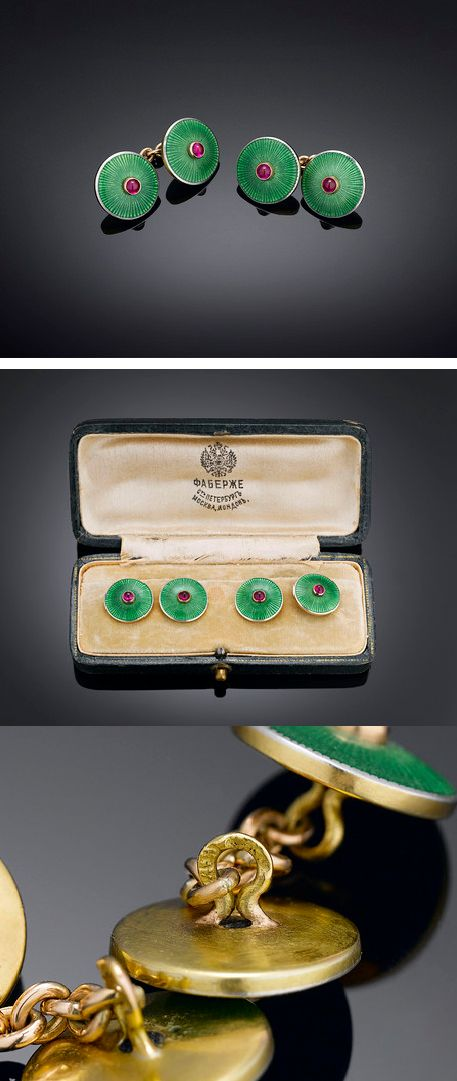 An incredibly rare pair of Fabergé cufflinks of outstanding beauty The pair were created by Fabergé master goldsmith August Frederick Hollming in St. Petersburg, ca 1900.