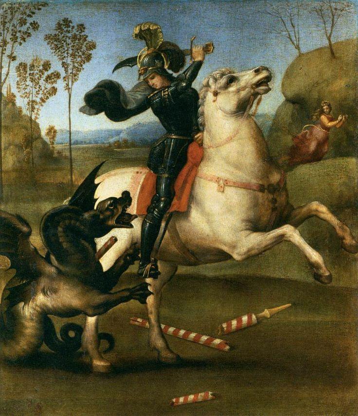 St George Fighting the Dragon. 1503-05. Oil on wood, 29 x 25 cm. Musйe du Louvre, Paris.