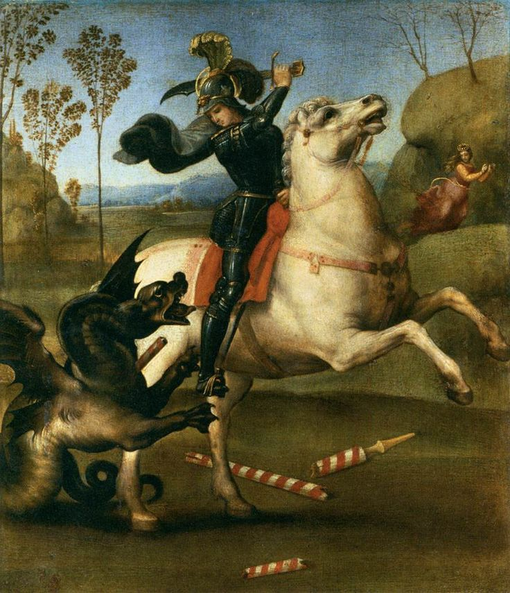 St George Fighting the Dragon. 1503-05. Oil on wood, 29 x 25 cm. Musйe du Louvre, Paris.