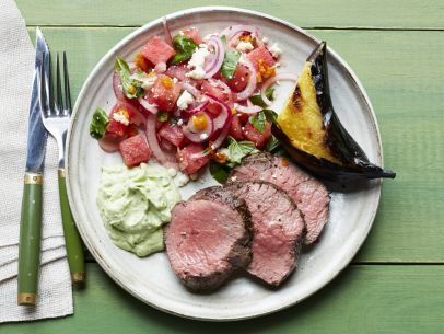 Beef Tenderloin with Basil Crema with Watermelon-Basil Salad and Grilled Plantains Recipe : Food Network Kitchen : Food Network