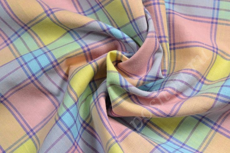 Штапельная ткань в разноцветную клетку