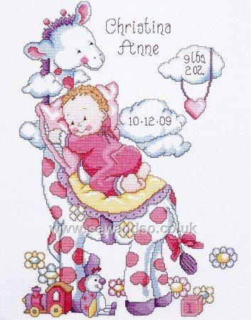 Giraffe Baby Girl Sampler Cross Stitch Kit