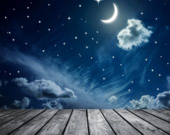 Night Moon and Star Backdrop for children by BestBackdropCenter