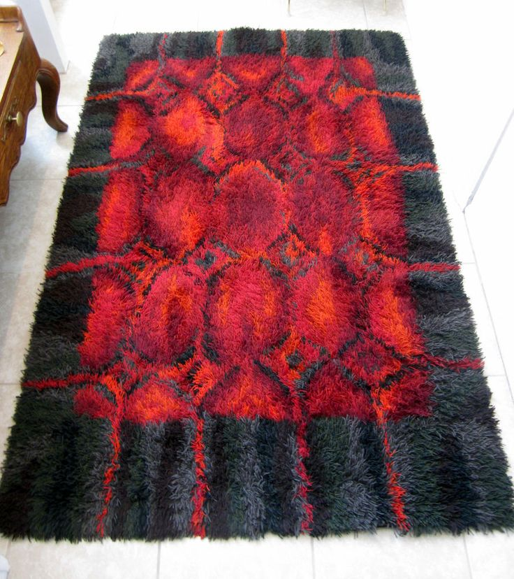 Authentic Hand-crafted Finnish Rya/Ryijy Rug; Mid-Century Modern--Vivid Hues!   #Geometric
